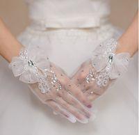 fingerlose spitze tulle braut handschuhe großhandel-2017 neue Mode Hohe Qualität Elastische Mädchen Braut Bogen Blume Handschuhe Frauen Kurze Weiße Handschuhe Für Mädchen Party