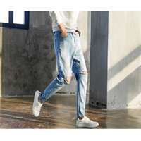 Wholesale Newest Style Jeans - Newest Men Famous Jeans Brand Light Blue Capris Hole Pants Denim Designer High Quality Ripped Jeans For Men Classic Retro Free Shipping