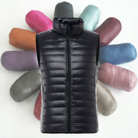 Wholesale Men S Vest Slim Fit - Wholesale- Men Light Weight Down Puffer Gilet Vest Body Warmer Waistcoat Padded Slim Fit Winter New Fashion 904-302