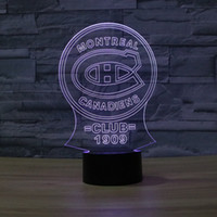 Wholesale Club Decor - Wholesale- NHL Montreal Canadiens Ice Hockey League Club Shadow Visual light 3D Colorful Touch Lamp home decor shop crafts