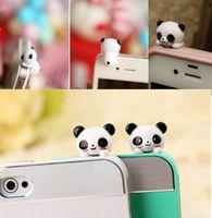 Wholesale Anti Dust Plug Panda - Mobile Phone Panda Type Anti-Dust Plug Earphone Dustproof Cover Stopper Cap anti dust plug for iphone 6 7 samsung s8