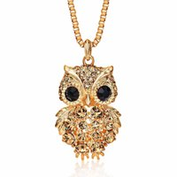 Wholesale Copper Enamelling Supplies - Fashion Enamel Gifts For WomenOwls Pendant Necklace New Arrival Owl Gem Crystal Chain Jewelry Wedding Supplies Wholesale