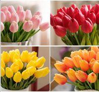 verdadeiro toque de tulipas artificiais pu venda por atacado-20 pçs / lote Tulip Artificial Flor PU buquê artificial Real toque flores Para Casa de Casamento flores decorativas coroas de flores