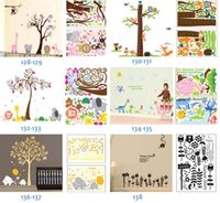 Wholesale Mix Order Kids Wall Stickers - Mix Order Removable Wall Art Stickers Nursery Wall Decor 60x90cm Kids Room Wall Decals Large Wallpaper Stickers