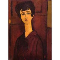 abstrakte gemälde mädchen großhandel-Porträt eines Mädchens (Victoria) von Amedeo Modigliani Gemälde Frau abstrakte Kunst Hohe Qualität Hand bemalt
