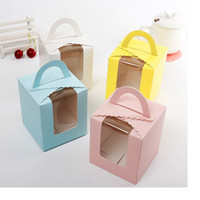 Wholesale Single Cupcakes Boxes - Free shipping single cupcake boxes with window with handle macaron box mousse cake box 4 colors wa3150