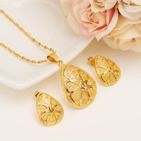 New Heart Ethiopian Necklace Earrings Wedding Jewelry Set Mulheres 24K amarelo sólido fino de ouro com cor cheia Vintage Dubai Party Gifts