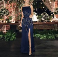 Wholesale Evening Dress Spaghetti Embroidery - 2017 Navy Sheath Evening Dresses with Side Split Spaghetti Neckline Illusion Floor Length Beaded Embroidery Cutaway Sides Party Prom Gowns