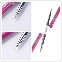 Großhandel-1 Stück Double-Ended Nail Art Liner Pinsel Ultra-dünnen Linie zeichnen Stift Rhinestone Nail Paint Pen Pinsel Rose Red Maniküre-Tool