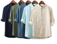 erkekler için çince kıyafetleri toptan satış-Erkekler Keten Gömlek Uzun Kollu Çin Tarzı Mandarin Yaka Geleneksel Kung Fu Tang Rahat Sosyal Gömlek Marka Giyim