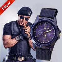 banda de nylon del reloj del ejército al por mayor-Gemius Army Relojes para hombres Army Racing Force Mens Sport para hombres Fabric Band Knight Watch Deportes Canvas Relojes para el regalo del ejército Gemius
