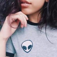 Wholesale Wholesale Alien T Shirts - women's t-shirt fashion ZSIIBO brand alien print clothes women's T-shirts tee shirt femme camisetas poleras de mujer female t shirts NV10-F