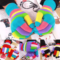 Wholesale Children Gloves Wool - Winter Boys Girls Multicolor Knitted Gloves Cute Children Colorful Stripe Finger Gloves Kids Warm Berlin Gloves