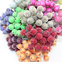 Wholesale Strong Stem - Wholesale- Free shipping 200pcs(400heads) 12mm High simulation glass pomegranate Multicolor double heads strong stem glass fruit stamen