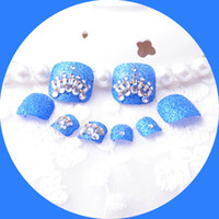 Wholesale Colored Tips Acrylic Nails - Wholesale- New design Luxury 3d plastic Tips Nail Toe Decoration Bride Nails Fake Toe Nails Art Practice Colored Crystal Decor Pedicure NEW