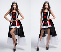 Wholesale Prom Dress Games - Luxury Queen Costume Poker Queen Cosplay Dresses Include Crown Game Clothes Uniform Guest Dress Prom dress