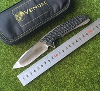 Wholesale Carbon Fiber Fins - Kevin John venom 2 fold ball bearing titanium fin m390 knife blade carbon fiber camp hunter tactical survival knife tools