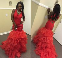 Wholesale Teenage Evening Dresses - Sexy Red Mermaid Prom Dresses 2017 V Neck Satin Tiered Organza Backless African Black Girls Evening Dresses Cheap Teenage White Party Dress