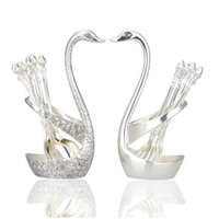 Wholesale 1 pair Swan Shaped Fashion Stainless Steel Forks and Spoons forks and spoons