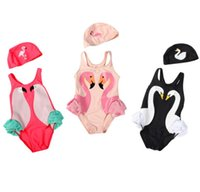 Wholesale Cap Suit Girl - Baby Girls Swimwear Baby Swimwear Black Swan Pink Flamingo Melon Parrot Swimsuit Bathing Cap Kids Girls Bikini Swim Suit Bathers