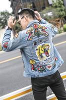 Wholesale Women Long Jean Dresses - 2017 Embroidery tiger band Hip Hop Denim Jean Jackets Men Women Fashion Bomber Man Jacket Men's Windbreaker Streetwear Couples Dress