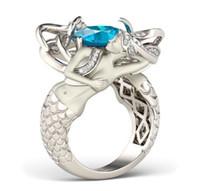 Wholesale Diamond Aquamarine Engagement Rings - Unique Wholesale Luxury Jewelry 925 Sterling Silver Cushion Shape Aquamarine Gemstones CZ Diamond Wediding Women Mermaid Ring Gift Size 5-10