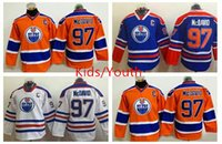 Wholesale Captain America Hockey - 2016 America Premier Kids Ice Hockey Jerseys Oiler captain 97 Connor McDavid Jersey With C Patch Youth Edmonton Oilers McDavid Jerseys Boys