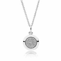 Wholesale Authentic Sterling Silver Necklace PAN Signature With Crystal Pendant Necklace For Women Compatible With Pandora Jewelry HRAPD628
