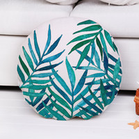 Wholesale Round Orange Pillow - 2017 New Watercolor Plants Round Cushion Covers Cotton Linen Throw Pillow Case Back Floor Seat Cushion Cover 45CM Factory Price