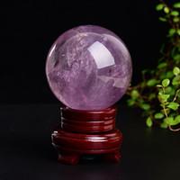ingrosso decorazione di affari-40-50 mm quarzo naturale pietra ametista sfera di cristallo sfera di cristallo + set di legno stand decorazione della casa regalo di guarigione di cristallo di affari