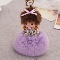 Wholesale Nipple Ring Men - Monchichi Key Chains Lovely Crystal Nipple Doll Keychains Cute Children Girl Gift Bag Charm Car Key Ring Christmas gift