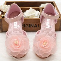 Baby Girls Sandales Pee-Toe 2017 Summer Kids Filles Chaussures en cuir Fille Fille Fille First Walkers Princesse Flat Chaussures S720