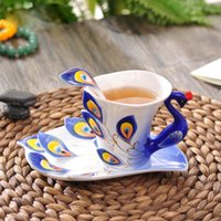 Wholesale Enamel Peacock Cup Set - 3D Peacock Enamel Coffee Mug Ceramic Tea Milk Drinkware Cup & Spoon & Saucer Set China Gifts
