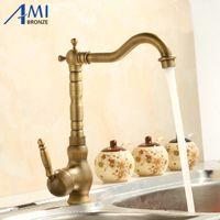 Wholesale Taps Antiques Finish - Wholesale- 360 Rotate Antique Brass Finish Kitchen Faucets Bathroom Basin Sink Faucet Mixer Tap
