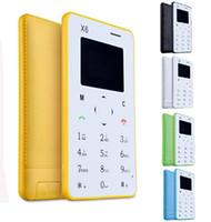 Wholesale Slim Card Mobile - MP3 Player AIEK X6 M5 M3 Card Mobile Phone Bluetooth 3.0 Ultra Thin Pocket Mini Phone Multi languages FM Radio slim unlocked phone