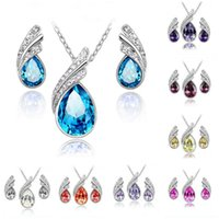 Wholesale Cheap Wholesale Bridesmaid Gift - Bridesmaid Jewelry Sets Fashion Indian Wedding Jewelry Cheap Swarovski Crystal Earring and Necklace Sets Women Swarovski Party Jewelry Set