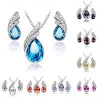 collar de boda swarovski conjunto al por mayor-Conjuntos de joyería de dama de honor Joyería de boda india de moda Pendiente de cristal barato y conjuntos de collar Mujeres Swarovski Conjunto de joyería del partido