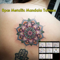 Wholesale Hot Sale Tattoo - 5pcs lot High Quality Gold And Colored Tattoos Non-toxic Temporary Waterproof Tattoos Hot Sale Sexy Metallic Mandala Tattoos! New Trending!