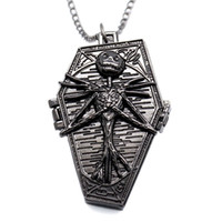 Wholesale Gothic Pocket Watch - Wholesale-Xmas Gift Gothic Style Pocket Watch New Style The Nightmare Before Christmas Necklace Pocket Watch Clock Hour Chain Men Women