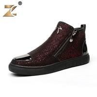 Wholesale B Z - Wholesale-Z 2016 Superstar High-vamp Clossy Red Men Casual Shoes Retro Zip European Style Fashion Breathable Men Shoes Boots Les souliers