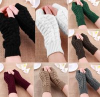 Wholesale Hand Arm Warmers - 2017 Autumn Winter Women Warmth Knitted Arm Fingerless Gloves Long Stretchy Mittens Men Women Winter Hand Arm Warm Female Gloves