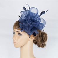 Wholesale Crinoline Hair - Free shipping Classical color crinoline fascinator headwear feather colorful mesh race show hair accessories millinery cocktail hats MYQ039