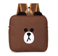 Wholesale School Girl Korea - Cute Cartoon Korea Brown Bear Kids Backpack School Bag Pack Oxford Waterproof Schoolbag Children Students Boys Girls Fashion Square Bag