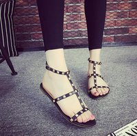 Wholesale Elastic Strap Gladiator - Women sandals Casual zapatos mujer Brand Summer Slipper Quality Flats Sexy Rivet Sandals Shoes Free Shipping