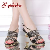 Wholesale Heel Sandals Online - 2016 Summer New Ladies High Heels Chunky Heel Shoes Size 11 Online Rhinestone Diamond Womens Comfort Sandals Discount 0KW