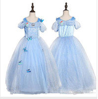 Wholesale movie star baby resale online - snowflake diamond cinderella dress fancy princess dress costumes for kids blue cinderella gown Halloween baby girl butterfly dress in stock