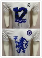 Wholesale Champions Brand - 2017 New Arrival Top Copy Brand Men's 12th Euro Champions League Commemorative Edition T shirts Cotton O Neck For Sale Cheap Free Shipping