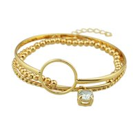 Wholesale Multiple Chain Bracelet - (3pcs set)Latest Fashion Jewelry Gold Metal Multiple Bracelets and Bangles with Beads and Crystal Pendant for Fancy Women
