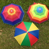 190T Nylon Fabric outdoor light shades - Light Umbrella All Weather Hat Bumbershoot Elastic Band Fishing Umbrellas Outdoor Color Rainbow Watermelon Camping Shade Beach zh H1 R