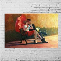 Wholesale nude lovers paintings resale online - Framed Kissing Lovers Pure Hand Painted Modern Wall Decor Abstract scene Art Oil Painting On High Quality Canvas Multi size a mei